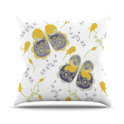 Leafy Butterflies by Anneline Sophia Butterfly Throw Pillow Size: 26 H x 26 W x 1 D, Color: Yellow/Purple