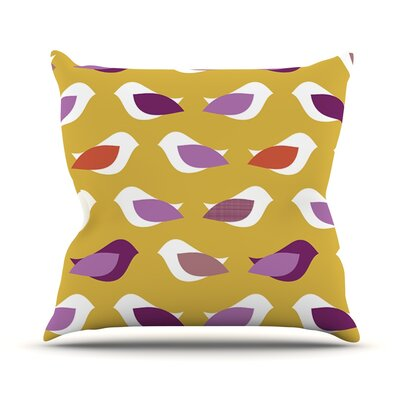 Golden Orchid Birds by Pellerina Design Throw Pillow Size: 26 H x 26 W x 1 D