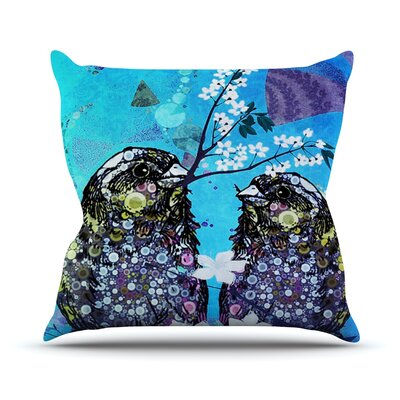 Birds In Love by alyZen Moonshadow Throw Pillow Size: 18 H x 18 W x 1 D, Color: Blue/Purple