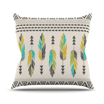 Painted Feathers by Amanda Lane Throw Pillow Size: 26 H x 26 W x 1 D, Color: Cream/Tan