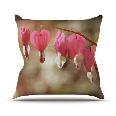 Bleeding Hearts by Angie Turner Flower Throw Pillow Size: 26 H x 26 W x 1 D