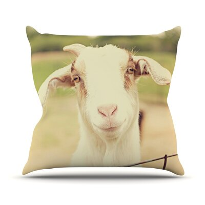 Happy Goat by Angie Turner Smiling Animal Throw Pillow Size: 26 H x 26 W x 1 D