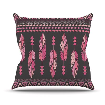 Painted Feathers by Amanda Lane Throw Pillow Size: 26 H x 26 W x 1 D, Color: Gray/Pink