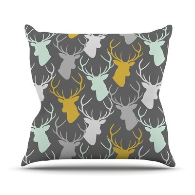 Scattered Deer Throw Pillow Size: 16 H x 16 W x 1 D, Color: Gray