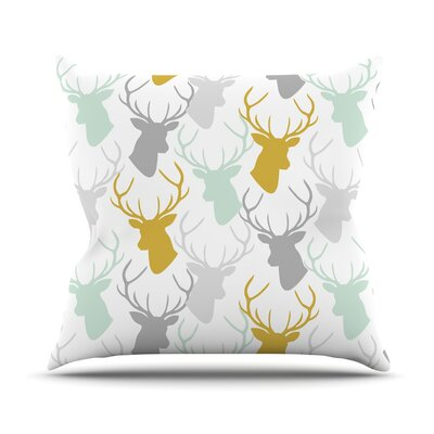 Scattered Deer Throw Pillow Size: 16 H x 16 W x 1 D, Color: White/Gold