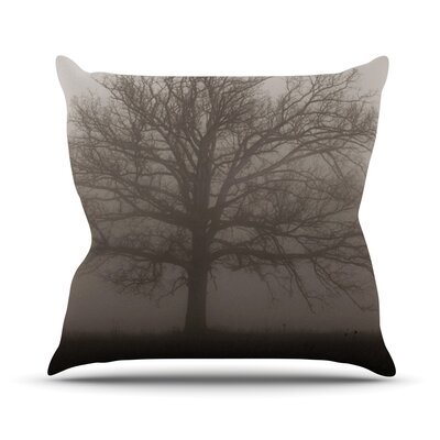 Lonely Tree by Angie Turner Dark Fog Throw Pillow Size: 18 H x 18 W x 1 D