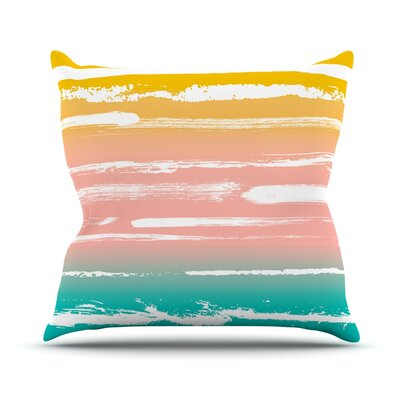 Painted Stripes by Anneline Sophia Throw Pillow Size: 26 H x 26 W x 1 D, Color: Peach/Pink/Teal
