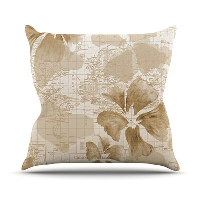Flower Power Map Throw Pillow Size: 16 H x 16 W x 1 D, Color: Tan