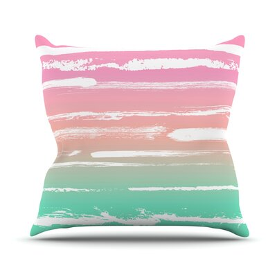 Painted Stripes by Anneline Sophia Throw Pillow Size: 26 H x 26 W x 1 D, Color: Green/Pink