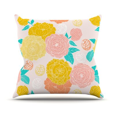 Peonies by Anneline Sophia Throw Pillow Size: 16 H x 16 W x 1 D, Color: Pink/Yellow