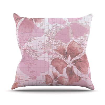 Flower Power Map Throw Pillow Size: 16 H x 16 W x 1 D, Color: Pink