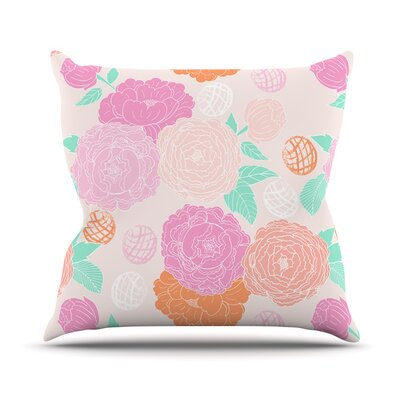 Peonies by Anneline Sophia Throw Pillow Size: 26 H x 26 W x 1 D, Color: Peach/Yellow