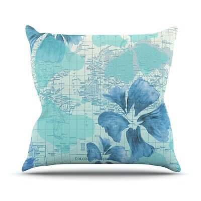 Flower Power Map Throw Pillow Size: 16 H x 16 W x 1 D, Color: Aqua