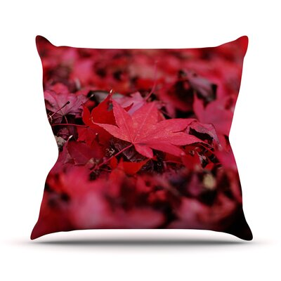 Leaves by Angie Turner Maroon Leaf Throw Pillow Size: 26 H x 26 W x 1 D