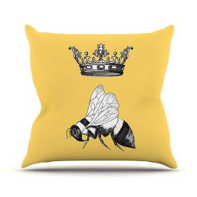Queen Bee by Catherine Holcombe Canary Throw Pillow Size: 18 H x 18 W x 1 D
