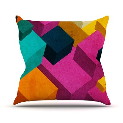 Happy Cubes by Danny Ivan Throw Pillow Size: 26 H x 26 W x 1 D