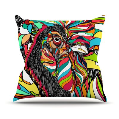 Tropical Cock by Danny Ivan Throw Pillow Size: 18 H x 18 W x 1 D