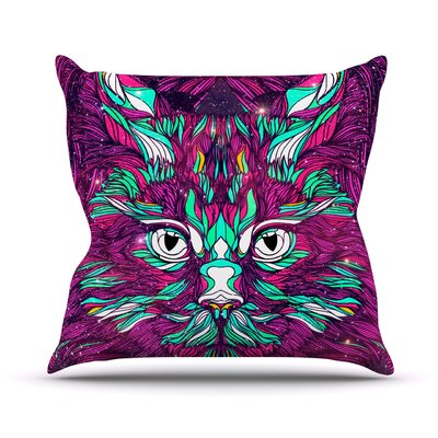 Space Cat Outdoor Throw Pillow Size: 16 H x 16 W x 3 D