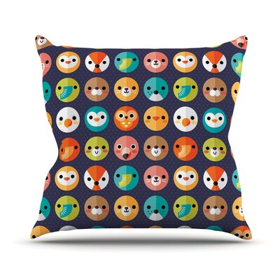 Smiley Faces Repeat by Daisy Beatrice Animal Pattern Throw Pillow Size: 18 H x 18 W x 1 D