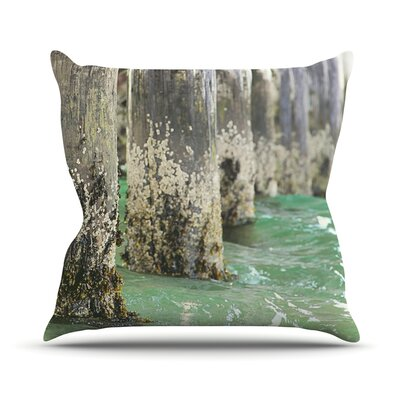 Saltwater Pylons by Debbra Obertanec Wooden Throw Pillow Size: 16 H x 16 W x 1 D