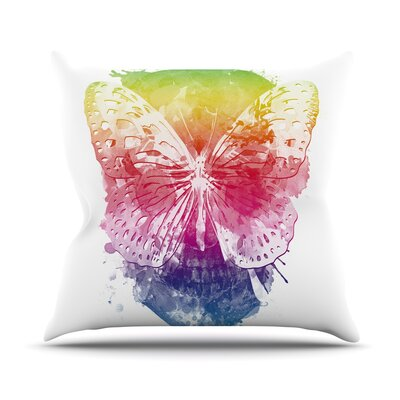 Butterfly Skull by Frederic Levy-Hadida Rainbow Throw Pillow Size: 16 H x 16 W x 1 D
