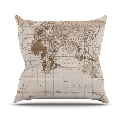 Emerald World by Catherine Holcombe Vintage Map Throw Pillow Size: 26 H x 26 W x 1 D
