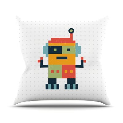 Happy Robot Throw Pillow Size: 26 H x 26 W x 1 D
