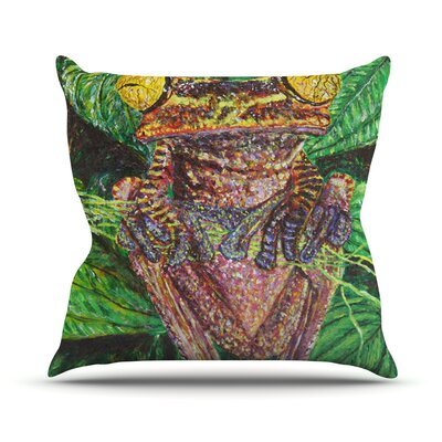 Frogs by David Joyner Throw Pillow Size: 16 H x 16 W x 1 D