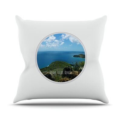 Roam Relax Renew by Deepti Munshaw Ocean Throw Pillow Size: 26 H x 26 W x 1 D