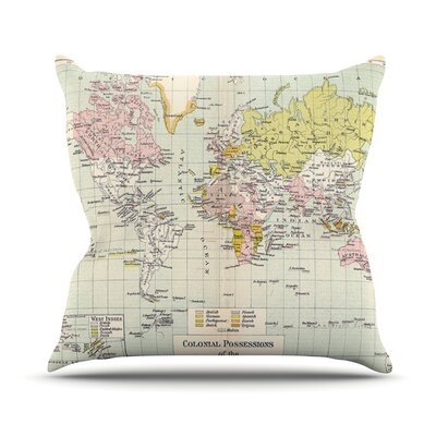 Travel by Catherine Holcombe World Map Throw Pillow Size: 16 H x 16 W x 1 D