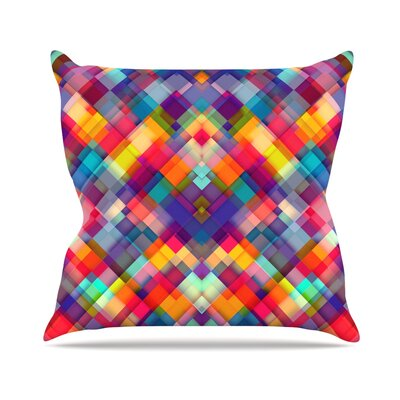Squares Everywhere by Danny Ivan Rainbow Throw Pillow Size: 26 H x 26 W x 1 D