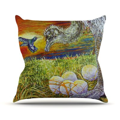 Ostrich by David Joyner Throw Pillow Size: 18'' H x 18'' W x 1