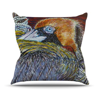 Pelican Bird Throw Pillow Size: 16 H x 16 W x 1 D