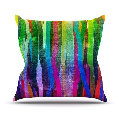 Jungle Stripes by Frederic Levy-Hadida Painting Throw Pillow Size: 16 H x 16 W x 1 D, Color: Pastel/Multi