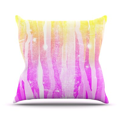 Jungle Stripes by Frederic Levy-Hadida Painting Throw Pillow Size: 18 H x 18 W x 1 D, Color: Pink/Yellow