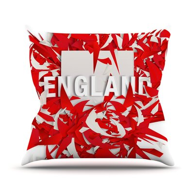 England by Danny Ivan World Cup Throw Pillow Size: 26 H x 26 W x 1 D