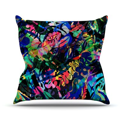 Flora Splash by Gabriela Fuente Dark Rainbow Throw Pillow Size: 16 H x 16 W x 1 D