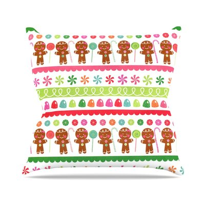 Gumdrop Buttons by Heidi Jennnings Gingerbread Throw Pillow Size: 16 H x 16 W x 3 D