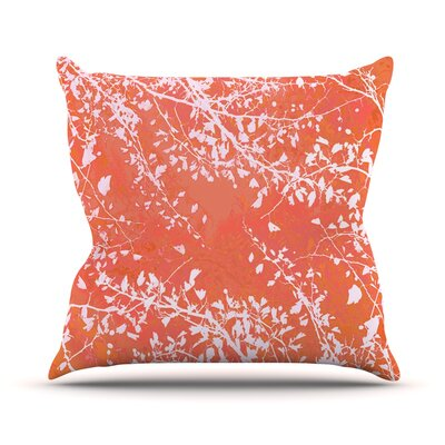 Twigs Silhouette by Iris Lehnhardt Throw Pillow Size: 16 H x 16 W x 3 D, Color: Coral