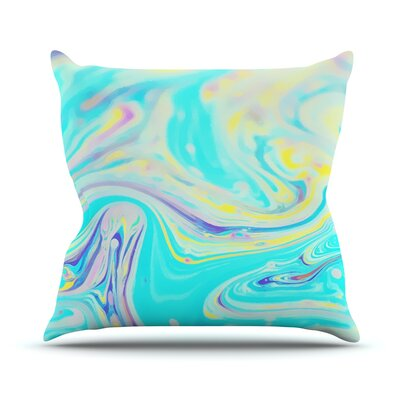 Aqua Swirl by Ingrid Beddoes Throw Pillow Size: 26 H x 26 W x 5 D