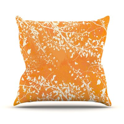Twigs Silhouette by Iris Lehnhardt Throw Pillow Size: 18 H x 18 W x 3 D, Color: Orange