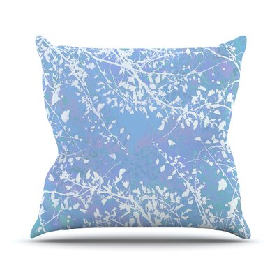 Twigs Silhouette by Iris Lehnhardt Throw Pillow Size: 26 H x 26 W x 5 D, Color: Pastel Blue