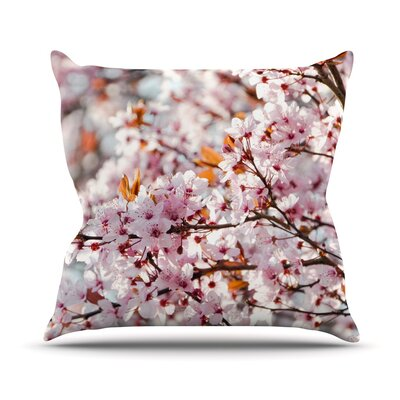 Flowering Plum Tree by Iris Lehnhardt Blossoms Throw Pillow Size: 16 H x 16 W x 3 D
