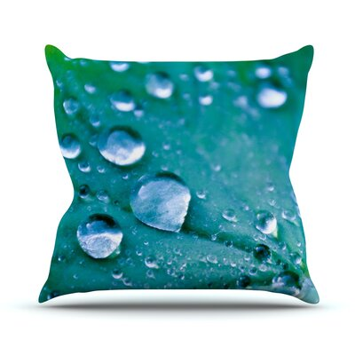 Water Droplets by Iris Lehnhardt Throw Pillow Size: 26 H x 26 W x 5 D, Color: Aqua