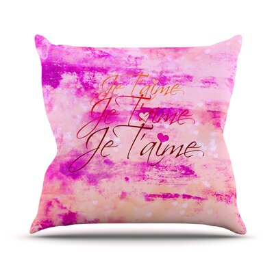 Je Taime by Ebi Emporium Grundge Throw Pillow Size: 18 H x 18 W x 3 D