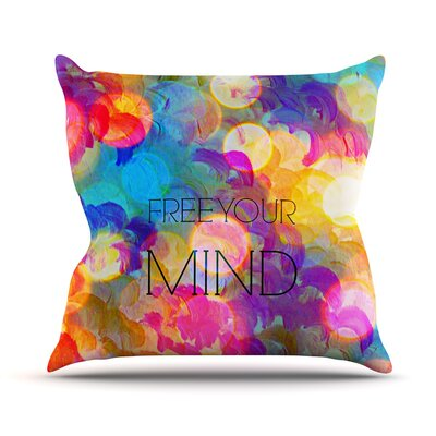 Free Your Mind by Ebi Emporium Rainbow Throw Pillow Size: 18 H x 18 W x 3 D