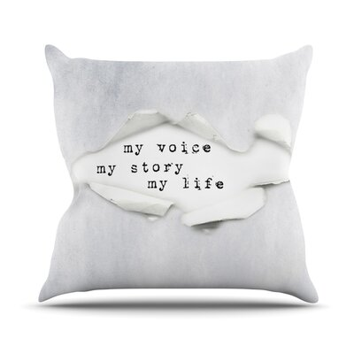My Life by Ingrid Beddoes Paper Text Throw Pillow Size: 18 H x 18 W x 3 D