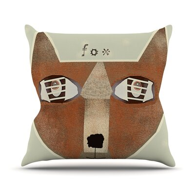 Fox Face by Bri Buckley Throw Pillow Size: 18 H x 18 W x 1 D
