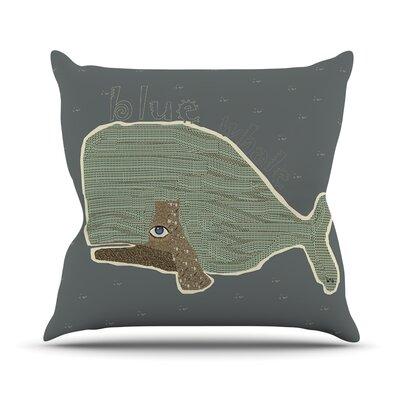 Blue Whale by Bri Buckley Throw Pillow Size: 26 H x 26 W x 1 D