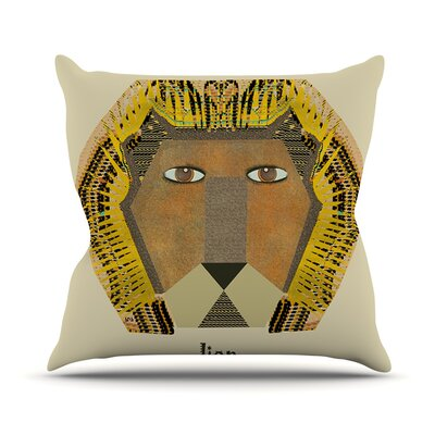 Lion by Bri Buckley Throw Pillow Size: 16 H x 16 W x 1 D